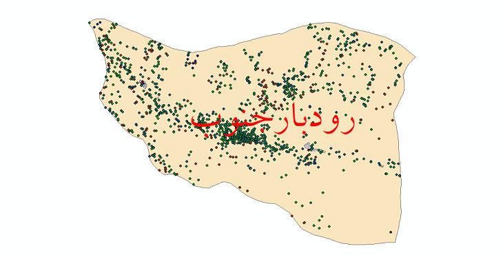 دانلود نقشه شیپ فایل آمار جمعیت نقاط شهری و نقاط روستایی شهرستان رودبارجنوب از سال 1335 تا 1395