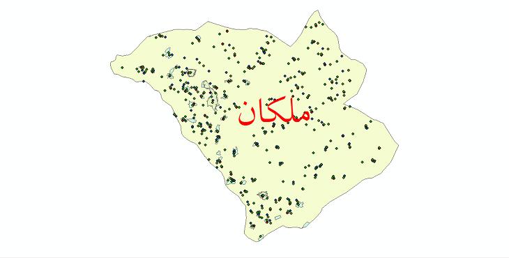 دانلود نقشه شیپ فایل آمار جمعیت نقاط شهری و نقاط روستایی شهرستان ملکان از سال 1335 الی 1395