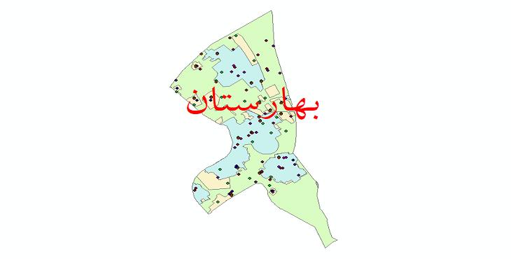 دانلود نقشه شیپ فایل آمار جمعیت نقاط شهری و نقاط روستایی شهرستان بهارستان از سال 1335 تا 1395