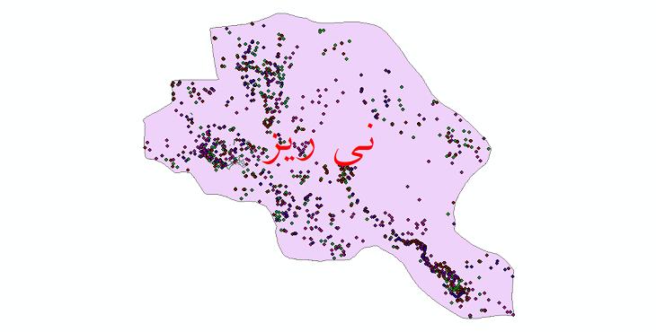 دانلود نقشه شیپ فایل آمار جمعیت نقاط شهری و نقاط روستایی شهرستان نی ریز از سال 1335 تا 1395