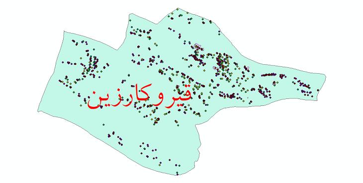 دانلود نقشه شیپ فایل آمار جمعیت نقاط شهری و نقاط روستایی شهرستان قیر و کارزین از سال 1335 تا 1395