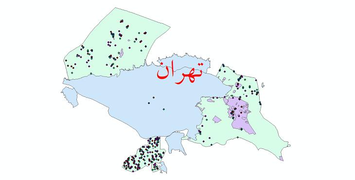 دانلود نقشه شیپ فایل آمار جمعیت نقاط شهری و نقاط روستایی شهرستان تهران از سال 1335 تا 1395