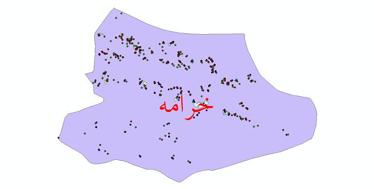 دانلود نقشه شیپ فایل آمار جمعیت نقاط شهری و نقاط روستایی شهرستان خرامه از سال 1335 تا 1395