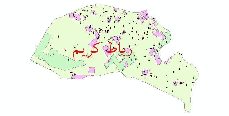 دانلود نقشه شیپ فایل آمار جمعیت نقاط شهری و نقاط روستایی شهرستان رباط کریم از سال 1335 تا 1395