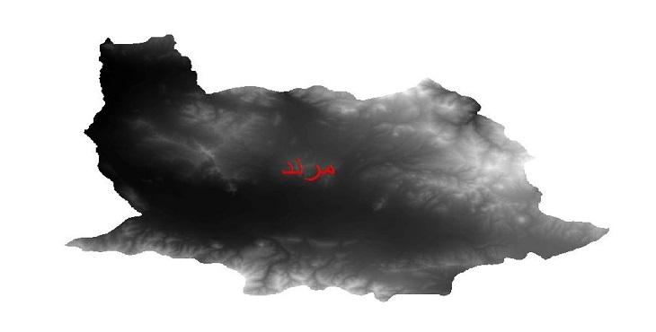 دانلود نقشه دم رقومی ارتفاعی شهرستان مرند