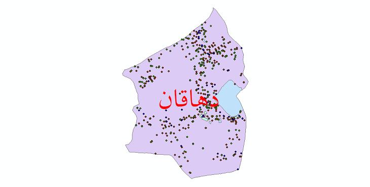 دانلود نقشه شیپ فایل آمار جمعیت نقاط شهری و نقاط روستایی شهرستان دهاقان از سال 1335 تا 1395