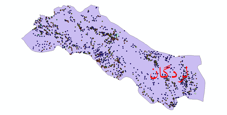 دانلود نقشه شیپ فایل آمار جمعیت نقاط شهری و نقاط روستایی شهرستان لردگان از سال 1335 تا 1395