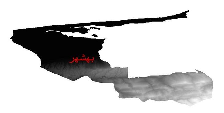 دانلود نقشه دم رقومی ارتفاعی شهرستان بهشهر