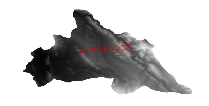 دانلود نقشه دم رقومی ارتفاعی شهرستان ثلاث باباجانی