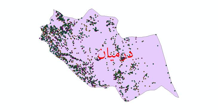دانلود نقشه شیپ فایل آمار جمعیت نقاط شهری و نقاط روستایی شهرستان درمیان از سال 1335 تا 1395