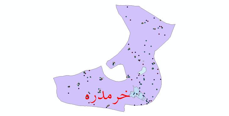 دانلود نقشه شیپ فایل آمار جمعیت نقاط شهری و نقاط روستایی شهرستان خرمدره از سال 1335 تا 1395