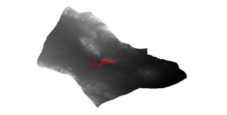 دانلود نقشه دم رقومی ارتفاعی شهرستان باخرز