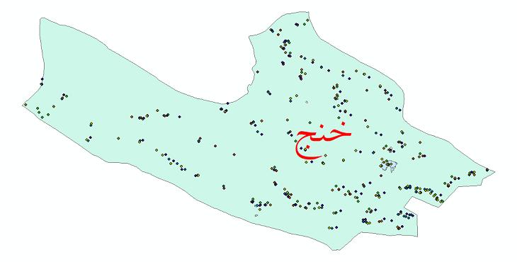 دانلود نقشه شیپ فایل آمار جمعیت نقاط شهری و نقاط روستایی شهرستان خنج از سال 1335 تا 1395