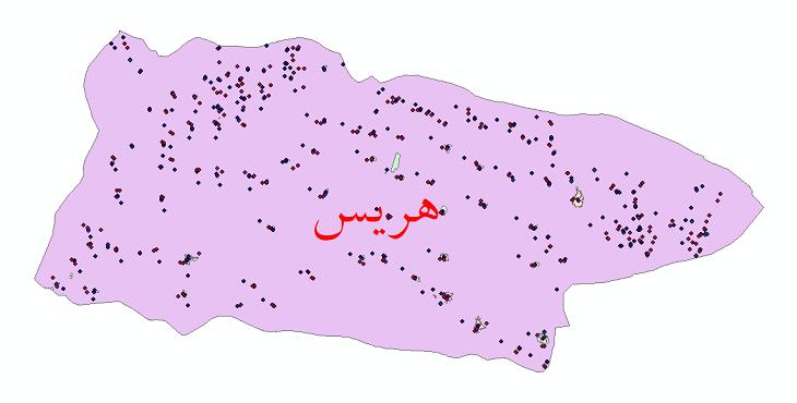 دانلود نقشه شیپ فایل آمار جمعیت نقاط شهری و نقاط روستایی شهرستان هریس از سال 1335 الی 1395