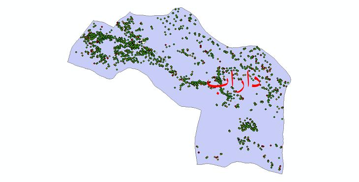 دانلود نقشه شیپ فایل آمار جمعیت نقاط شهری و نقاط روستایی شهرستان داراب از سال 1335 تا 1395