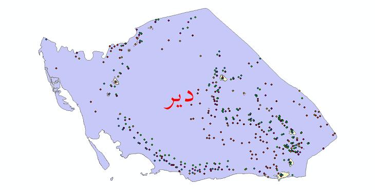 دانلود نقشه شیپ فایل آمار جمعیت نقاط شهری و نقاط روستایی شهرستان دیر از سال 1335 تا 1395