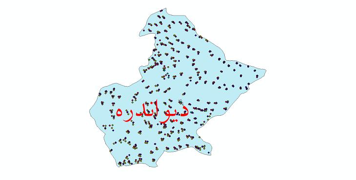 دانلود نقشه شیپ فایل آمار جمعیت نقاط شهری و نقاط روستایی شهرستان دیواندره از سال 1335 تا 1395