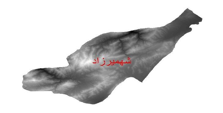 دانلود نقشه دم رقومی ارتفاعی شهرستان شهمیرزاد