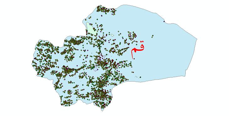 دانلود نقشه شیپ فایل آمار جمعیت نقاط شهری و نقاط روستایی شهرستان قم از سال 1335 تا 1395