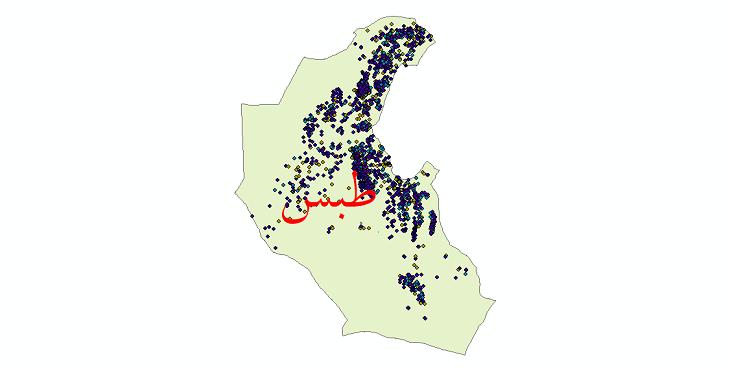 دانلود نقشه شیپ فایل آمار جمعیت نقاط شهری و نقاط روستایی شهرستان طبس از سال 1335 تا 1395