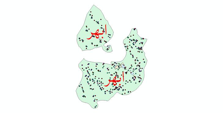 دانلود نقشه شیپ فایل آمار جمعیت نقاط شهری و نقاط روستایی شهرستان ابهر از سال 1335 تا 1395