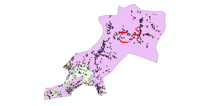 دانلود نقشه شیپ فایل آمار جمعیت نقاط شهری و نقاط روستایی شهرستان کرج از سال 1335 تا 1395