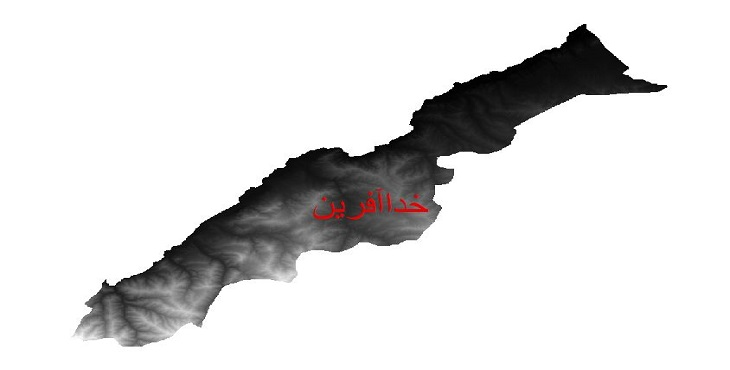 دانلود نقشه دم رقومی ارتفاعی شهرستان خداآفرین
