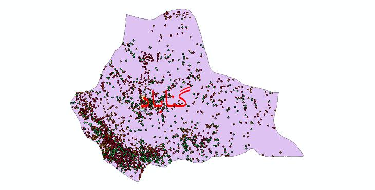 دانلود نقشه شیپ فایل آمار جمعیت نقاط شهری و نقاط روستایی شهرستان گناباد از سال 1335 تا 1395