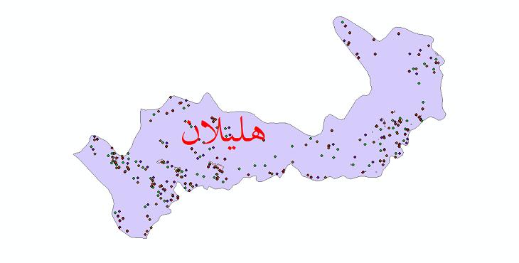 دانلود نقشه شیپ فایل آمار جمعیت نقاط شهری و نقاط روستایی شهرستان هلیلان از سال 1335 تا 1395