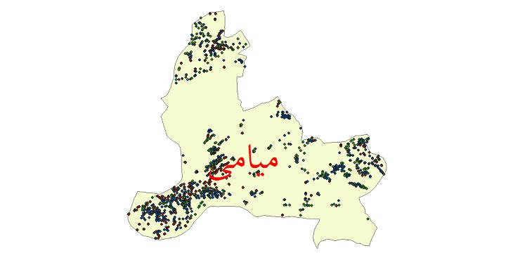 دانلود نقشه شیپ فایل آمار جمعیت نقاط شهری و نقاط روستایی شهرستان میامی از سال 1335 تا 1395