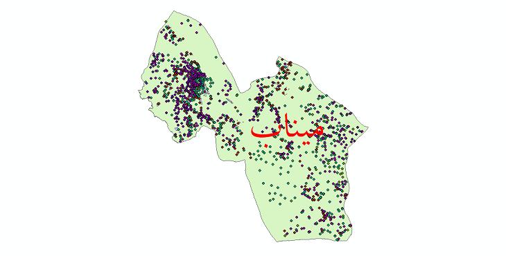 دانلود نقشه شیپ فایل آمار جمعیت نقاط شهری و نقاط روستایی شهرستان میناب از سال 1335 تا 1395