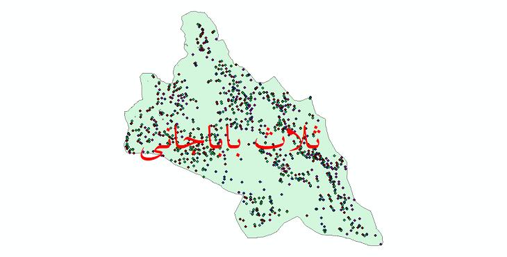 دانلود نقشه شیپ فایل آمار جمعیت نقاط شهری و نقاط روستایی شهرستان ثلاث باباجانی از سال 1335 تا 1395