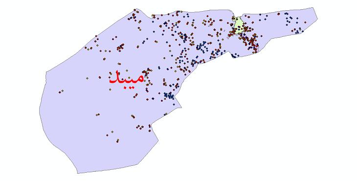 دانلود نقشه شیپ فایل آمار جمعیت نقاط شهری و نقاط روستایی شهرستان میبد از سال 1335 تا 1395
