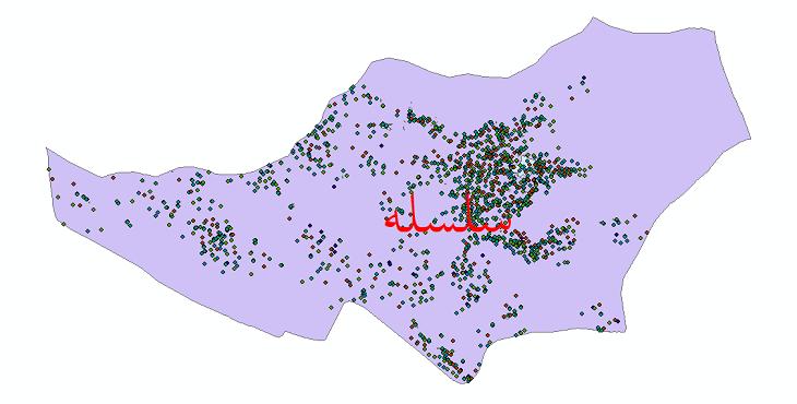 دانلود نقشه شیپ فایل آمار جمعیت نقاط شهری و نقاط روستایی شهرستان سلسله از سال 1335 تا 1395
