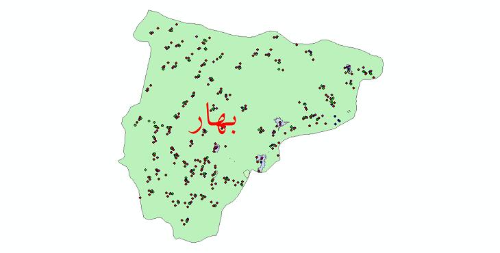 دانلود نقشه شیپ فایل آمار جمعیت نقاط شهری و نقاط روستایی شهرستان بهار از سال 1335 تا 1395