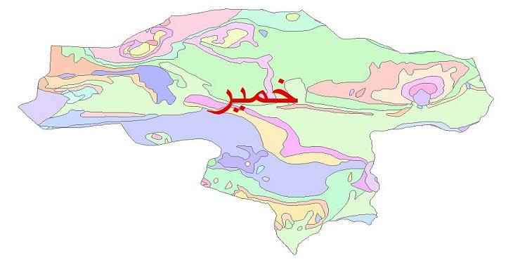 دانلود نقشه شیپ فایل زمین شناسی شهرستان خمیر