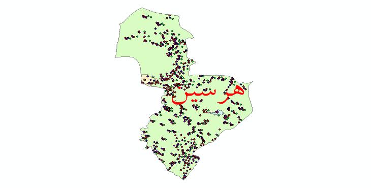 دانلود نقشه شیپ فایل آمار جمعیت نقاط شهری و نقاط روستایی شهرستان هرسین از سال 1335 تا 1395