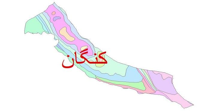 دانلود نقشه شیپ فایل زمین شناسی شهرستان کنگان