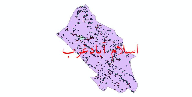 دانلود نقشه شیپ فایل آمار جمعیت نقاط شهری و نقاط روستایی شهرستان اسلام آباد غرب از سال 1335 تا 1395