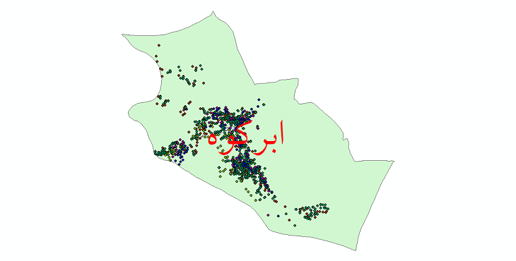 دانلود نقشه شیپ فایل آمار جمعیت نقاط شهری و نقاط روستایی شهرستان ابرکوه از سال 1335 تا 1395