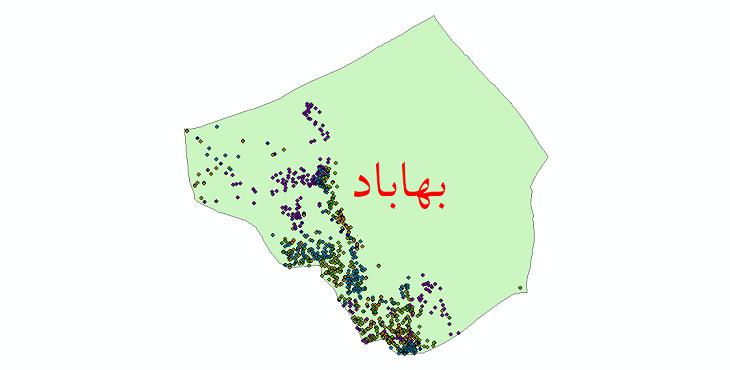 دانلود نقشه شیپ فایل آمار جمعیت نقاط شهری و نقاط روستایی شهرستان بهاباد از سال 1335 تا 1395