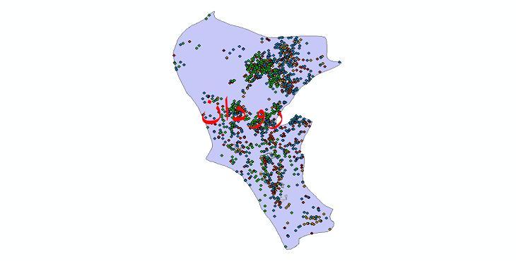 دانلود نقشه شیپ فایل آمار جمعیت نقاط شهری و نقاط روستایی شهرستان رودان از سال 1335 تا 1395