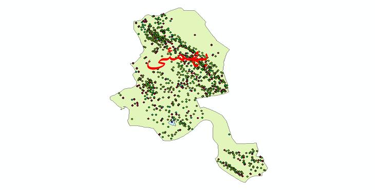 دانلود نقشه شیپ فایل آمار جمعیت نقاط شهری و نقاط روستایی شهرستان بهمئی از سال 1335 تا 1395