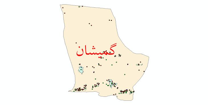 دانلود نقشه شیپ فایل آمار جمعیت نقاط شهری و نقاط روستایی شهرستان گمیشان از سال 1335 تا 1395