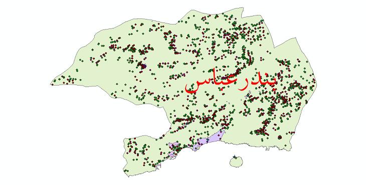 دانلود نقشه شیپ فایل آمار جمعیت نقاط شهری و نقاط روستایی شهرستان بندرعباس از سال 1335 تا 1395