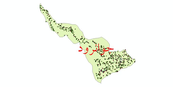 دانلود نقشه شیپ فایل آمار جمعیت نقاط شهری و نقاط روستایی شهرستان جوانرود از سال 1335 تا 1395