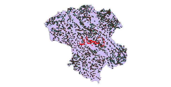 دانلود نقشه شیپ فایل آمار جمعیت نقاط شهری و نقاط روستایی استان زنجان از سال 1335 تا 1395