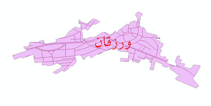 دانلود نقشه شیپ فایل شبکه معابر شهر ورزقان سال 1399