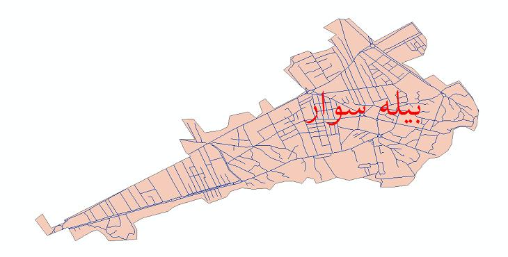 دانلود نقشه شیپ فایل شبکه معابر شهر بیله سوار سال 1399