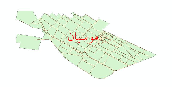 دانلود نقشه شیپ فایل شبکه معابر شهر موسیان سال 1399